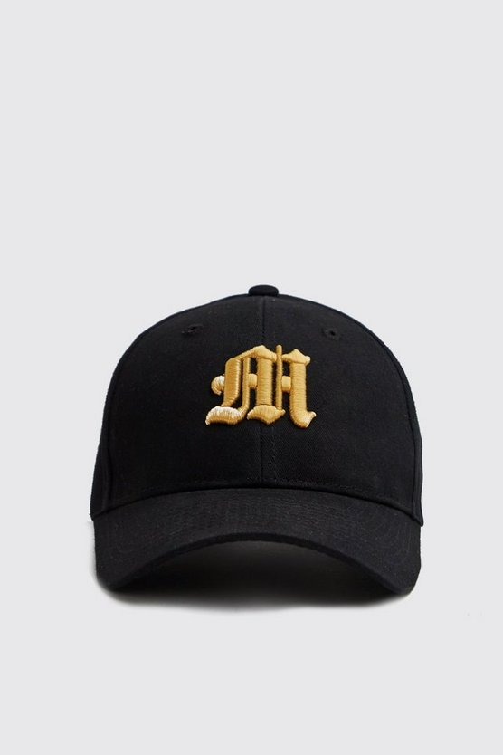 Mens Black 3D Gold Embroidered M Cap