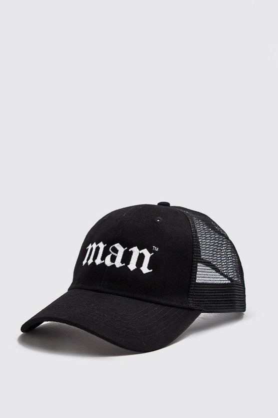 Mens Black Gothic Embroidery Man Trucker
