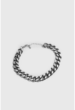 Mens Silver Large Cuban Chain Link Bracelet