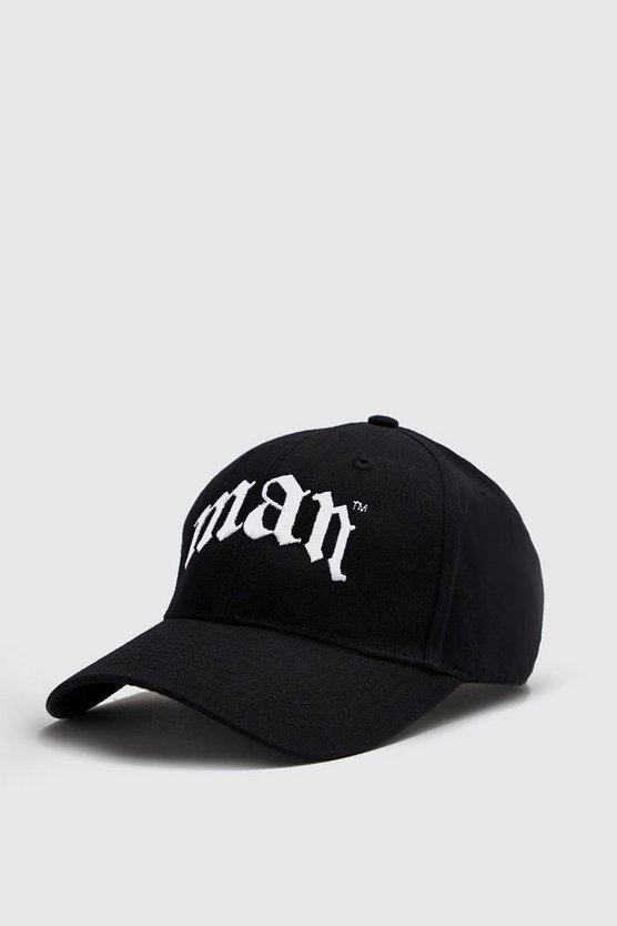 Mens Black Gothic Embroidery MAN Cap