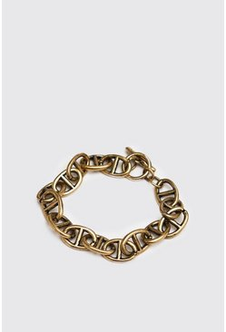 Mens Gold Anchor Chain Bracelet