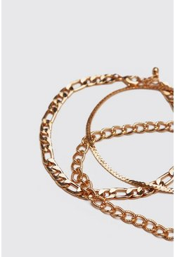 Gold 3 Pack Chain Bracelets