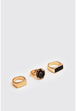Gold 3 Pack Signet Rings