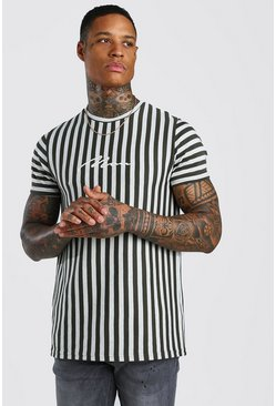 Khaki MAN Signature Jacquard Stripe T-Shirt