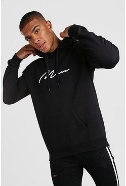 Black 3D MAN Signature Embroidered Hoodie