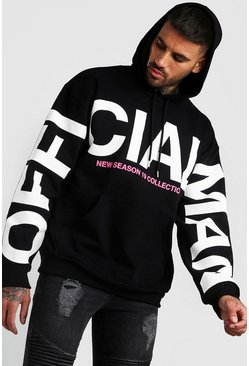 Black Oversized MAN Official Sleeve Print Hoodie