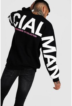 Sweat oversize manche et dos imprimé MAN Officiel, Noir