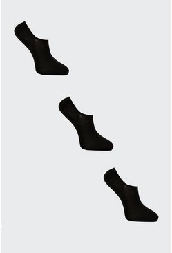 Black 3 Pack Plain Invisible Socks