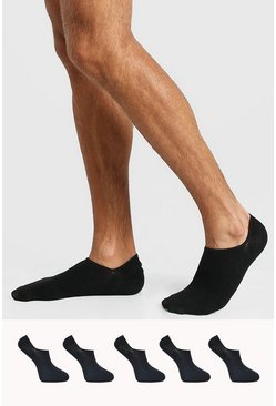 Black 5 Pack Plain Invisible Socks