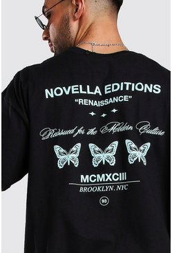 Black Oversized Butterfly Back Print T-Shirt
