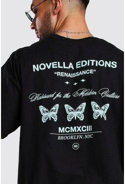 Black Oversized Butterfly Back Print T-Shirt