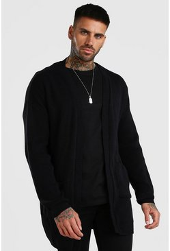 Black Longline Edge To Edge Knitted Cardigan