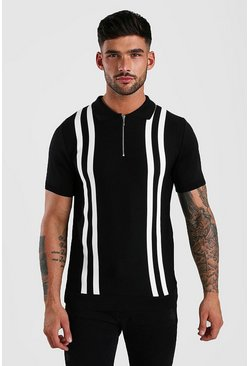 Black Zip Through Stripe Knitted Polo
