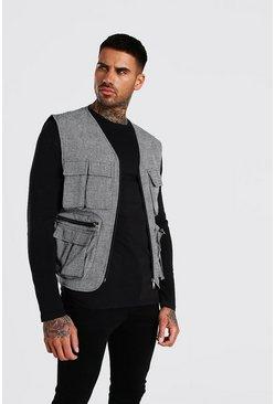 Grey Check Utility 4 Pocket Vest