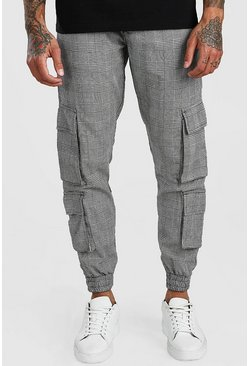 Grey Check Utility 4 Pocket Joggers