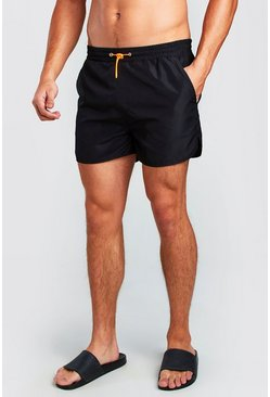 Black Runner Swim Short With Bungee Waist Cord