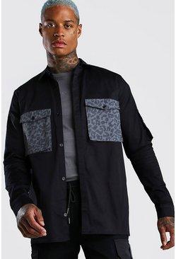 Black Contrast Pocket Utility Shirt Jacket