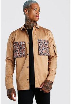 Tan Contrast Pocket Utility Shirt Jacket