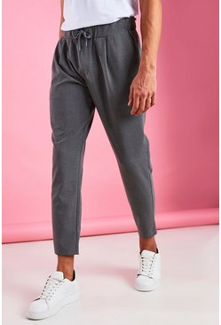 Grey Skinny Fit Crop Pants With Pleats