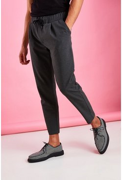 Charcoal Skinny Fit Crop Pants With Pleats