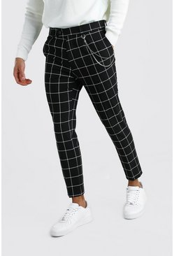 Black Cropped Skinny Check Trouser With Chain