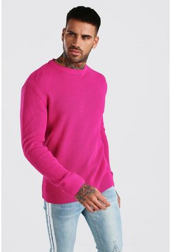 Pink Brushed Fisherman Knit Jumper