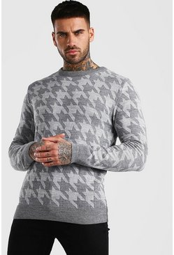 Grey Houndstooth Crew Neck Jumper