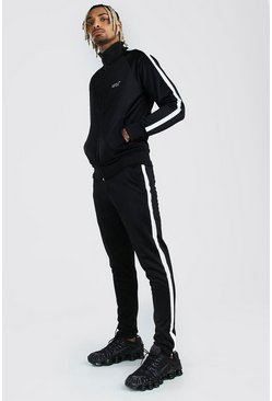 Black MAN Reflective Funnel Neck Tracksuit With MAN Tape