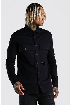 Black MAN Signature Utility Pocket Overshirt