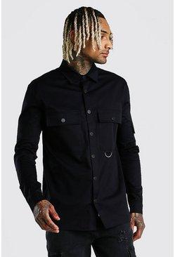 Black Man Signature Utility Pocket Shirt Jacket
