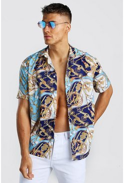 Blue Short Sleeve Shirt In Baroque Print