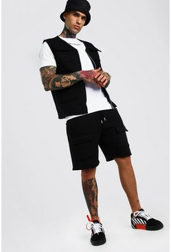 Black MAN Official 3 Piece Utility Vest T-Shirt & Short