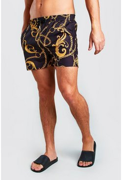 Black Short Length Swim Short In Baroque Print