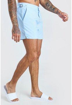 Pale blue Mid Length Buckle Detail Short Swim Shorts