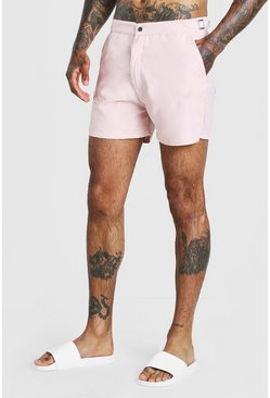 Pale pink Mid Length Buckle Detail Smart Swim Shorts