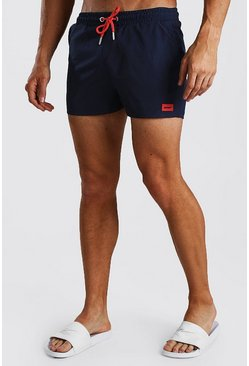 Navy Short Length Swim Short With MAN Badge