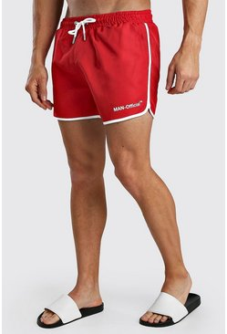 Shorts de bain style running imprimé Official MAN, Rouge