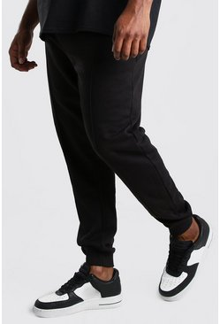 Black Big And Tall Jersey Pintuck Jogger