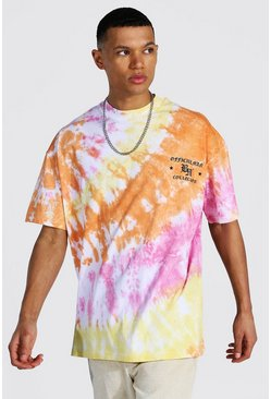 Multi Tall Oversized Crew Neck Tie Dye T-shirt