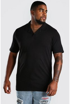 Black Big And Tall Revere Neck Polo