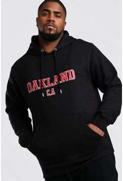 "Big And Tall Hoodie mit ""Oakland""-Print, Schwarz"