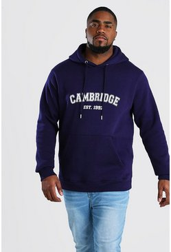 "Big And Tall Hoodie mit ""Cambridge""-Print, Marineblau"
