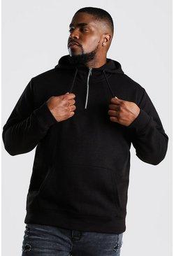 Black Big And Tall Loose Fit Zip Neck Hoodie