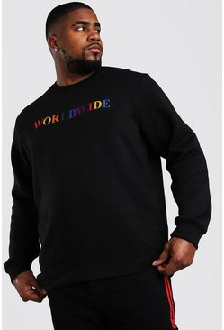 "Big And Tall Sweatshirt mit ""Worldwide""-Print, Schwarz"