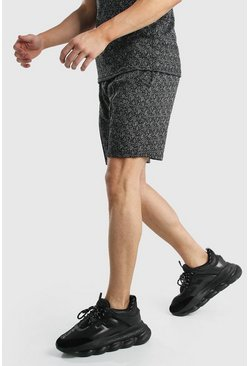Black Pintuck Smart Jacquard Shorts