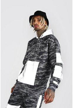 Charcoal MAN Reflective Pocket Detail Camo Hoodie
