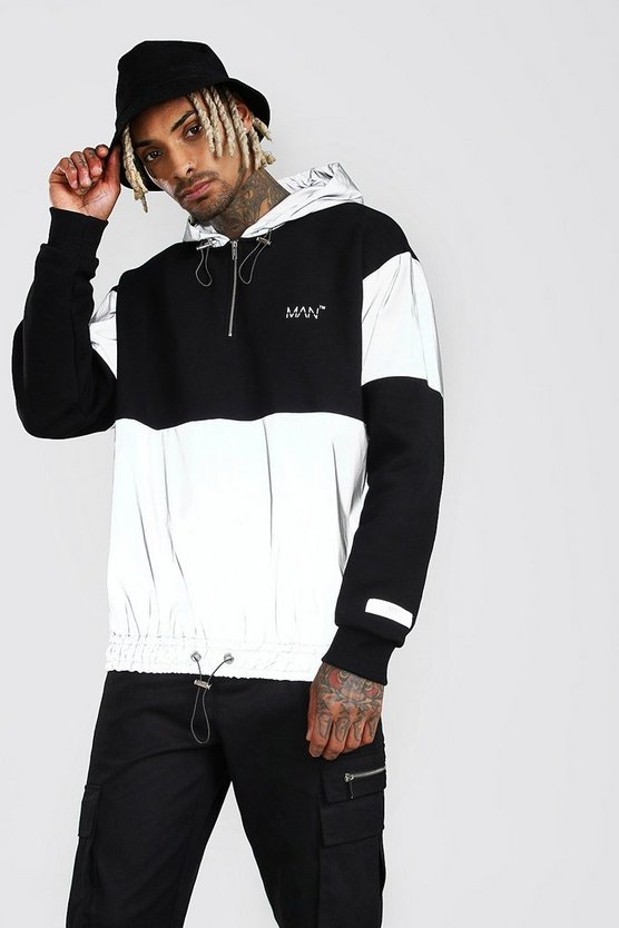 Black MAN Reflective Panel Half Zip Hoodie