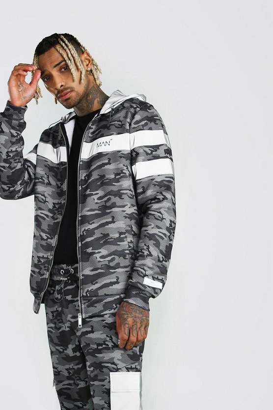 Charcoal MAN Reflective Pocket Detail Camo Hoodie