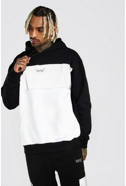 Black MAN Reflective Colour Block Oversized Hoodie