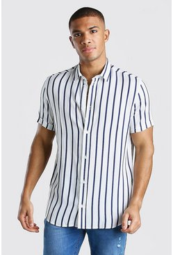 White Short Sleeve Reg Collar Viscose Stripe Shirt